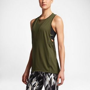 Nike Forest Green Zonal Running Top Mesh XS